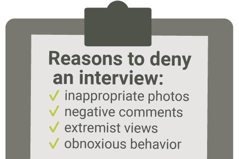 Reasons to deny an interview: inappropriate photos, negative comments, extremist views, obnoxious behavior